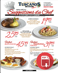 MENU SUGGESTIONS DU CHEF